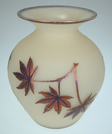 Lindsay Art Glass - Etched Maple Leaf Vase