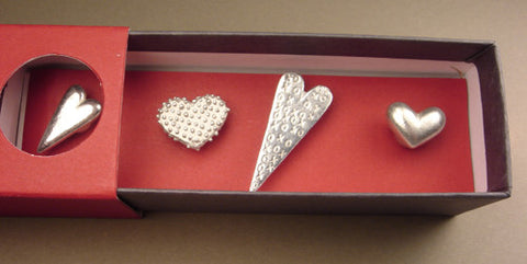 Vilmain Pewter - Mixed Heart Magnets