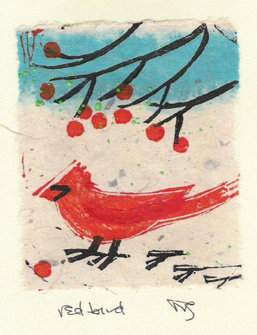 Salmonberry Studio - Red Bird Note Card