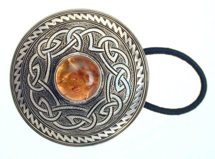 Hand Engraved Sterling Silver Hair Tie with Baltic Amber Setting