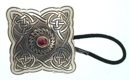Hand Engraved Sterling Silver Hair Tie set with Garnet-Roadolite Stone
