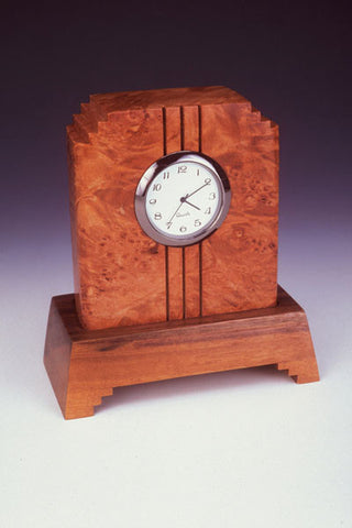 Howard Griffiths - Maple Burl & Walnut Side Step Desk Clock