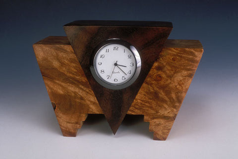 Howard Griffiths - Maple Burl & Walnut - Geo Desk Clock