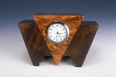 Howard Griffiths - Walnut & Maple Burl - Geo Desk Clock