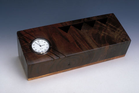 Howard Griffiths - Walnut & Maple Pencil Holder with Clock