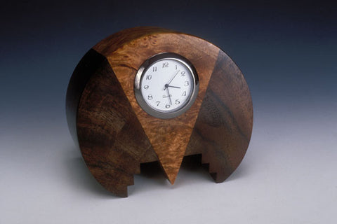 Howard Griffiths - Walnut & Maple Burl - Round Desk Clock