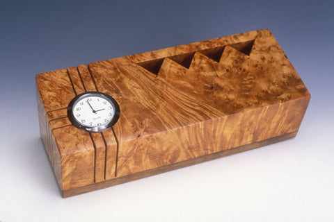 Howard Griffiths - Maple Burl & Walnut Pencil Holder with Clock