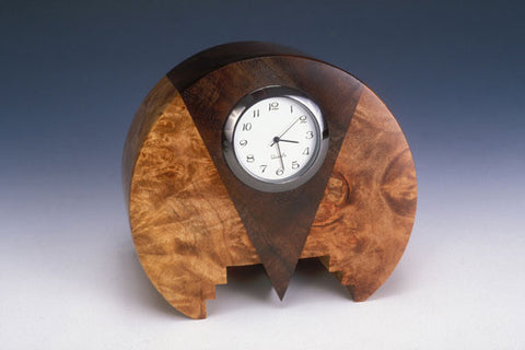 Howard Griffiths - Maple Burl & Walnut -  Round Desk Clock