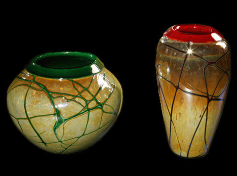 Viscosity Glass - Golden Gem Vases