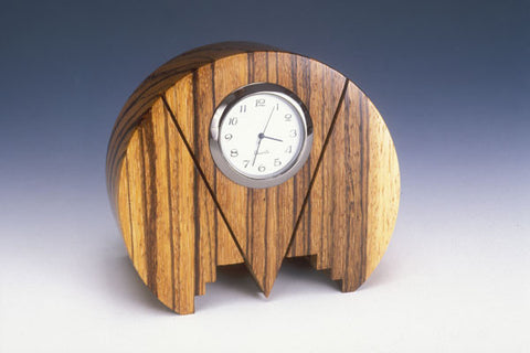 Howard Griffiths - Zebra Wood - Round Desk Clock