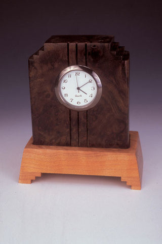 Howard Griffiths - Walnut & Maple Side Step Desk Clock
