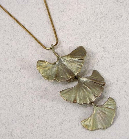 Silver Seasons - Michael Michaud - Large Three Leaf Ginkgo Pendant