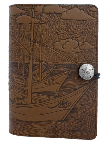 Oberon Design - Van Gogh Boats Large Refillable Leather Journal