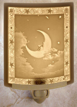 The Porcelain Garden - Man In The Moon - Lithophane Night Light