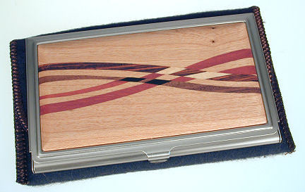 Davin & Kesler - Woodworking - Business Card Case - Cherry with Assorted Inlaid  Hardwoods
