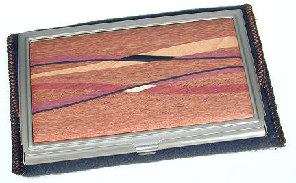 Davin & Kesler - Woodworking - Business Card Case - Lacewood with Assorted Inlaid  Hardwoods