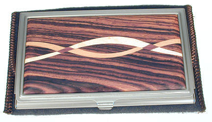 Davin & Kesler - Woodworking - Business Card Case - Cocobolo with Assorted Inlaid  Hardwoods