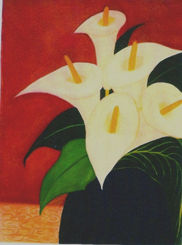 Calla Lillies in Blu Vase by Mitzi Linn