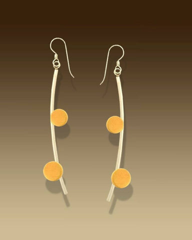 Mar Jewelry - Brushed Sterling Silver and Nu-Gold Double Dot Earrings