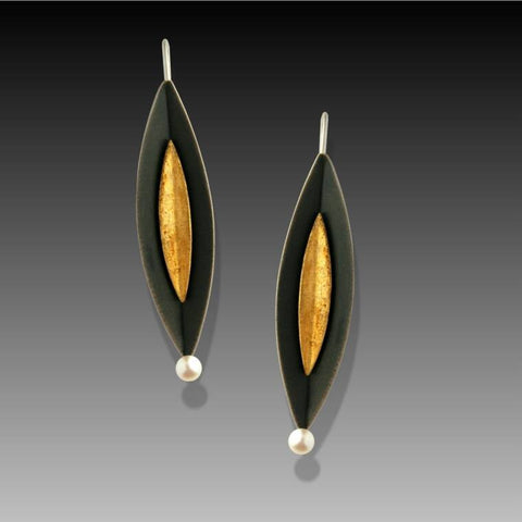Mar Jewelry - Oxidized Sterling Silver Gold Leaf Earrings