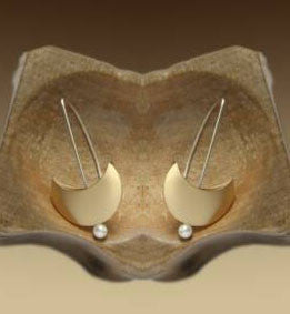 Mar Jewelry - Brushed Nu-Gold Crescent Moon Earrings