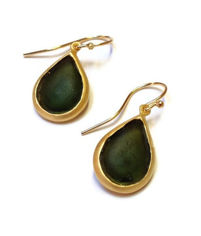 Michael Vincent Michaud Jewelry - Green Pear Drop Earrings
