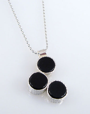 Renee Ford - Panicmama Jewelry -  Zen Three Dots Pendant with Onyx