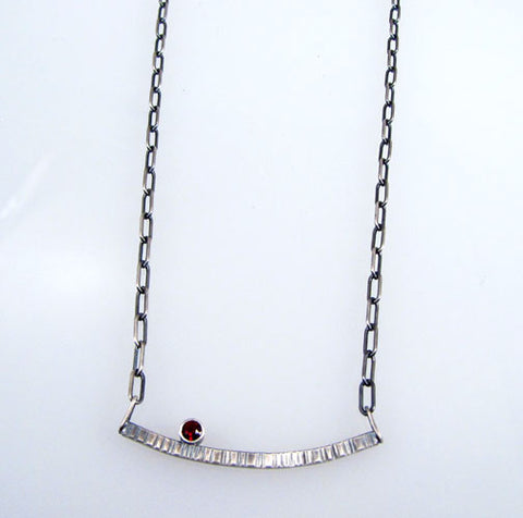 Renee Ford - Panicmama Jewelry -  Zen Curved Stick Bar Necklace with Garnet
