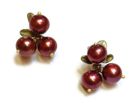 Silver Seasons - Michael Michaud - Cranberry Three Pearl Post Earrings