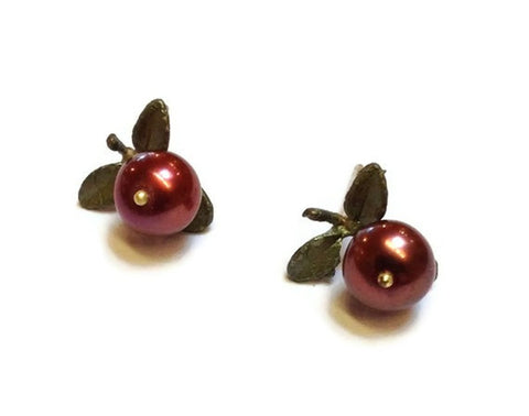 Silver Seasons - Michael Michaud - Cranberry Single Post Earrings