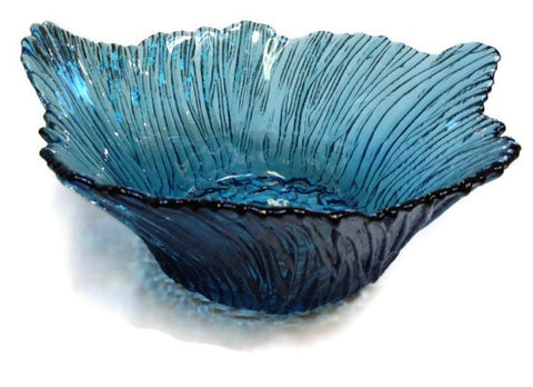 Hudson Beach Glass - Marsh Grass Bowl in Sapphire