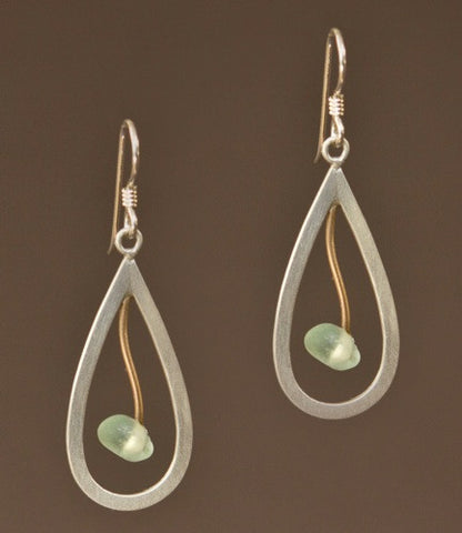 Mar Jewelry - Brushed Sterling Silver and Sea Glass Rain Drop Earrings