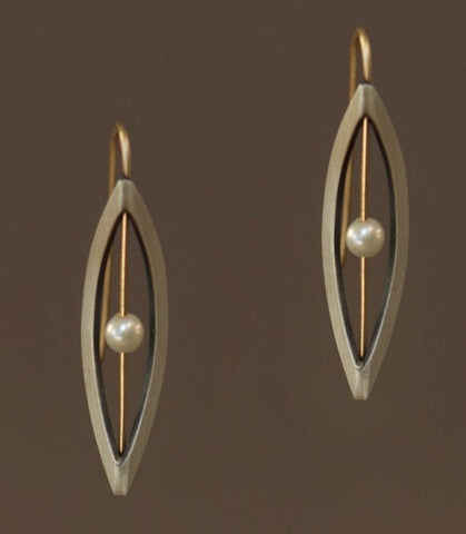 Mar Jewelry - Brushed Sterling Silver and Pearl Earrings