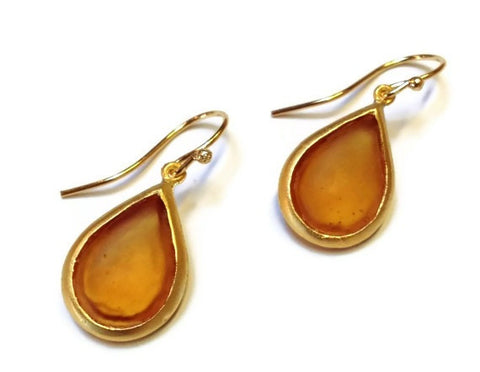 Michael Vincent Michaud Jewelry - Orange Pear Drop Earrings