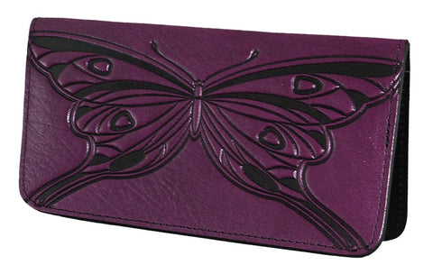 Oberon Design - Butterfly Leather Checkbook Cover
