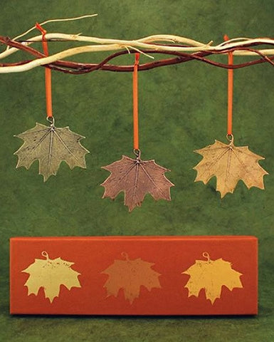 Vilmain Pewter - Autumn Maple Leaves Ornament Set