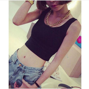 Sleeveless U Neck Crop Top
