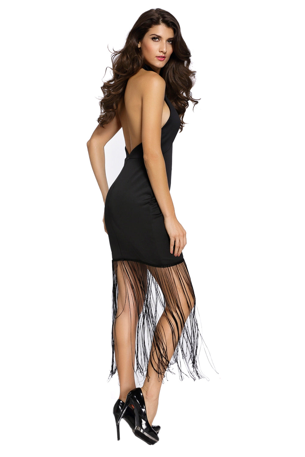 Black High Halterneck Fringe Hem Maxi Dress