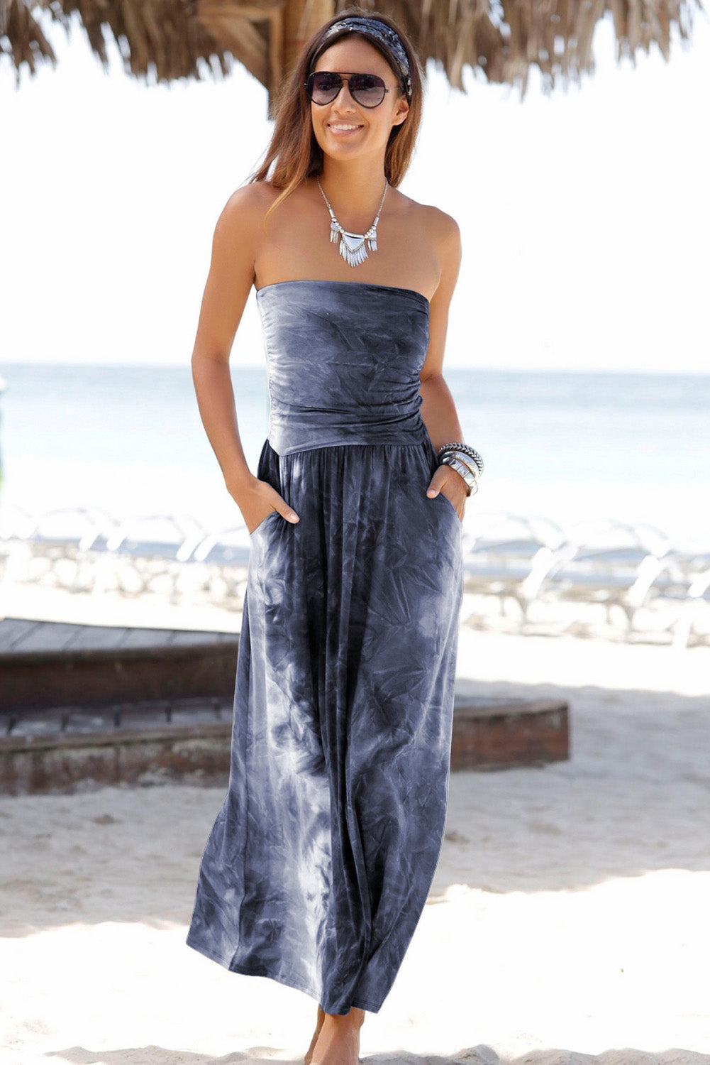 Gray Bohemian Bandeau Print Maxi Dress