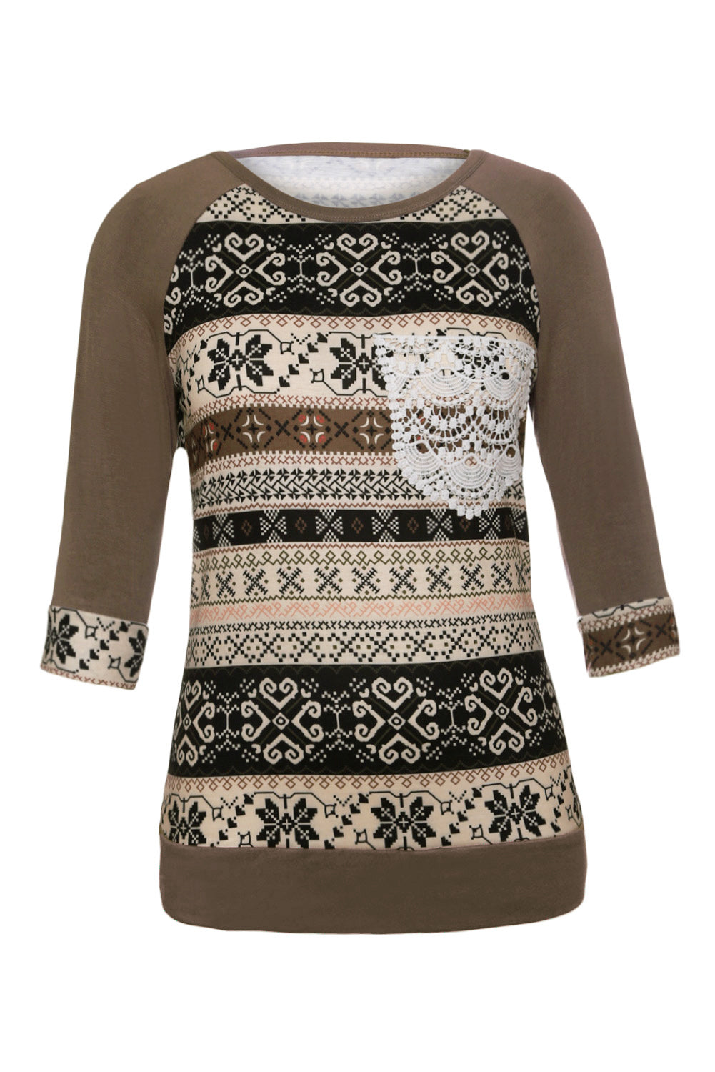 Taupe Raglan Sleeve Lace Pocket Detail Printed Top