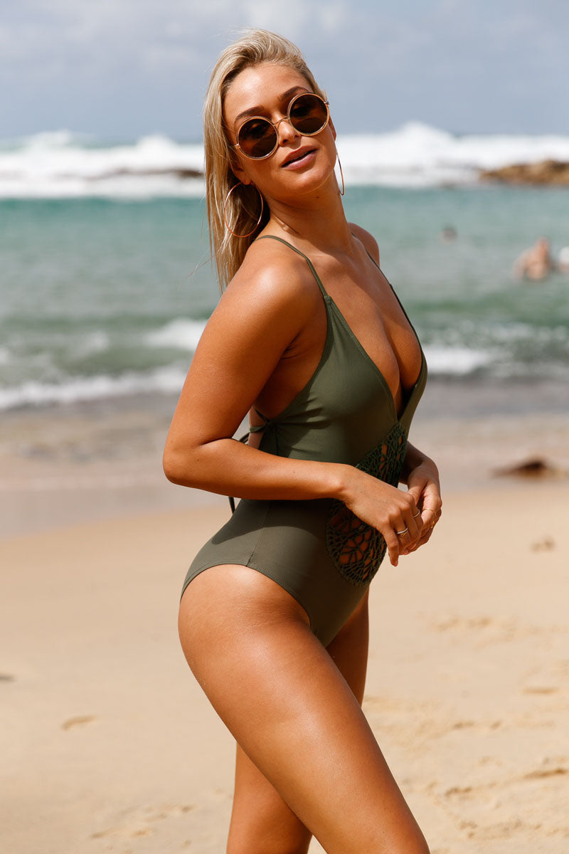 Olive Crochet Front Detail One Piece Bathing Suit