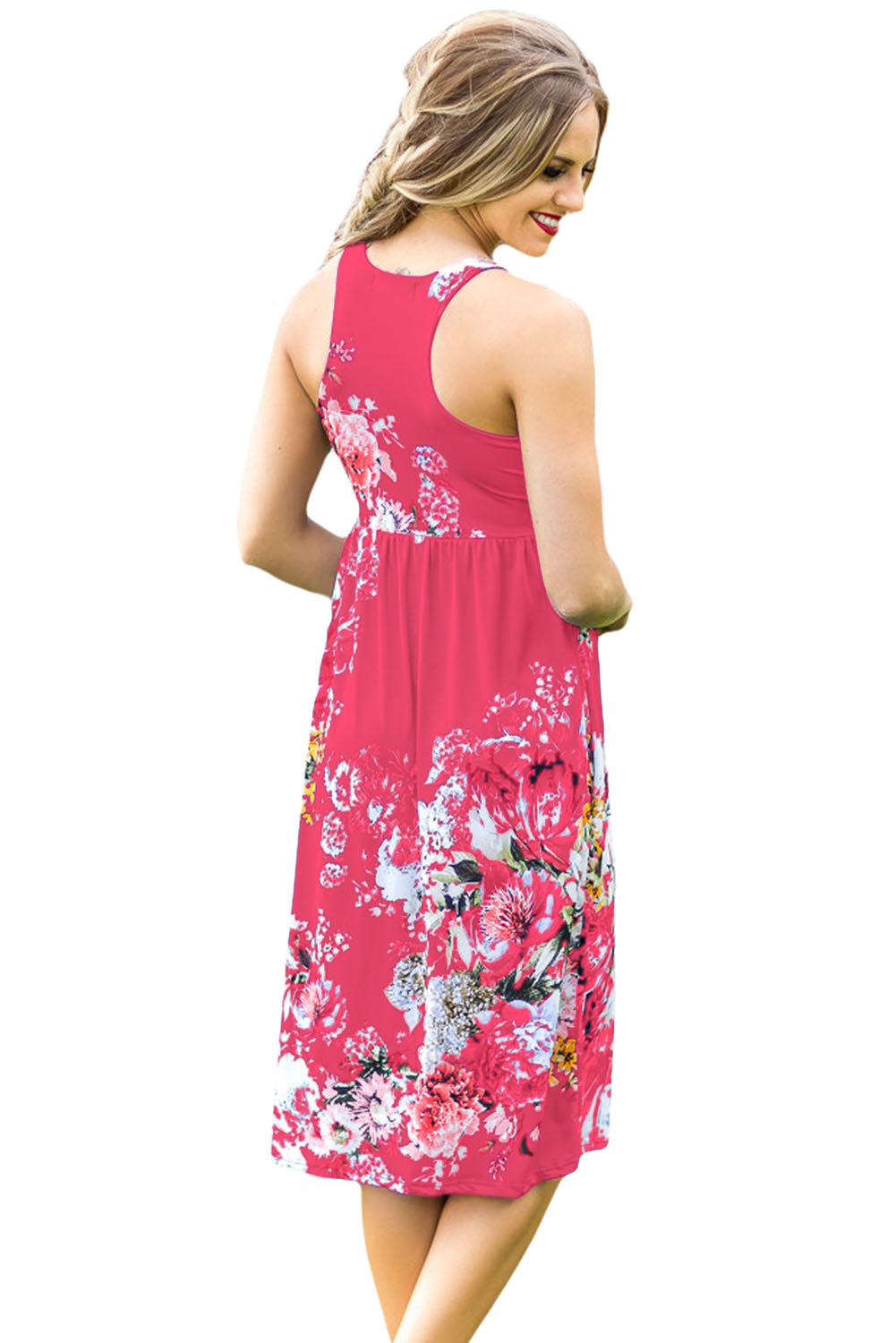 Fall in Love with Floral Print Boho Dress in Rosy