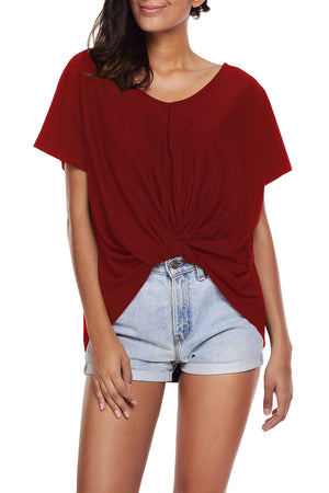 Wine Red Draped Front Knot Top