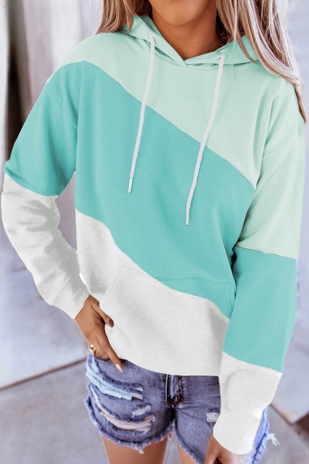 Green Colorblock Drawstring Hoodie