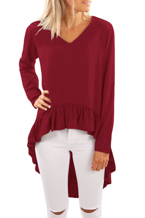 Purplish Red V Neck Longer Frilled Hemline Back Top