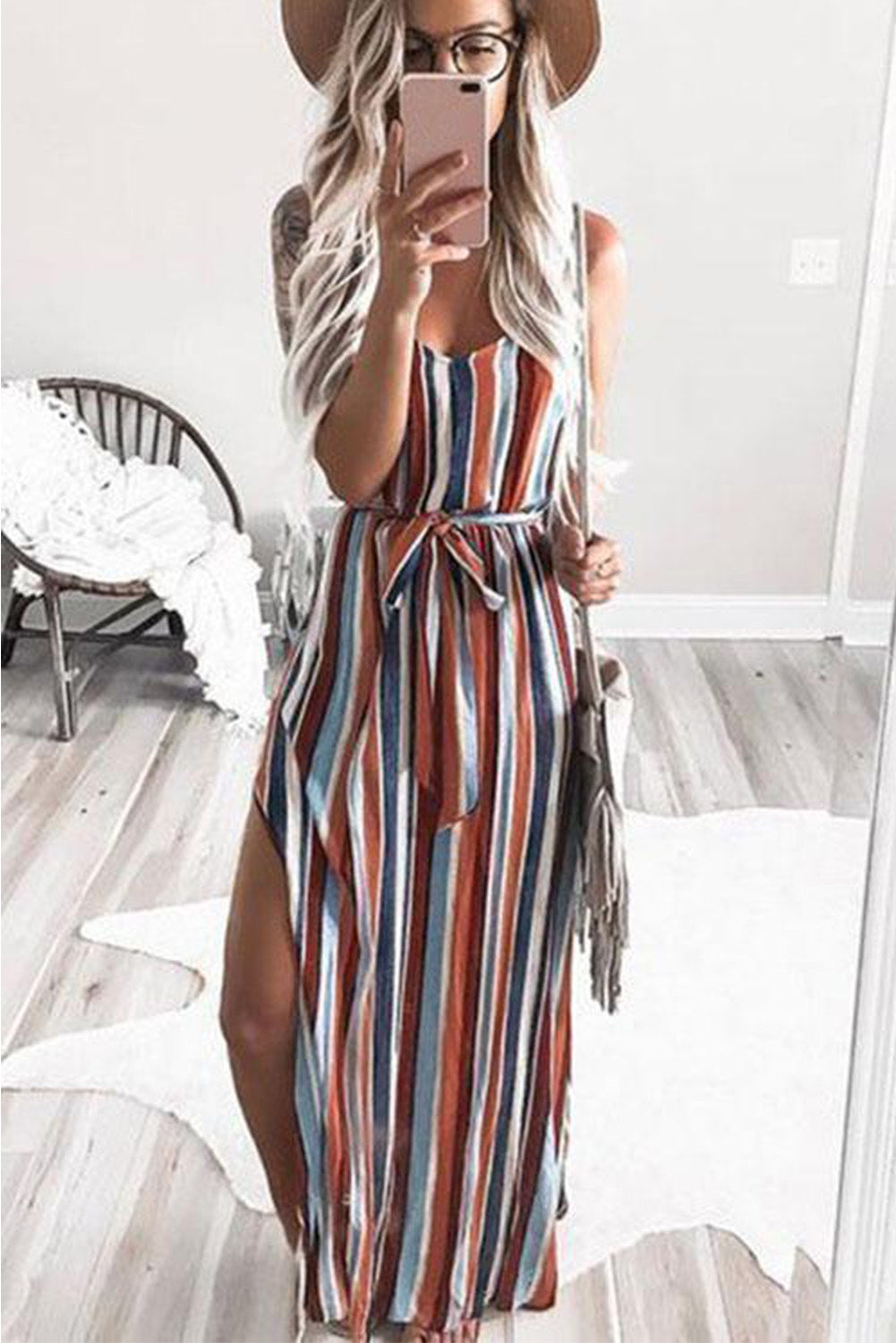 Rainbow Striped High Split Maxi Dress