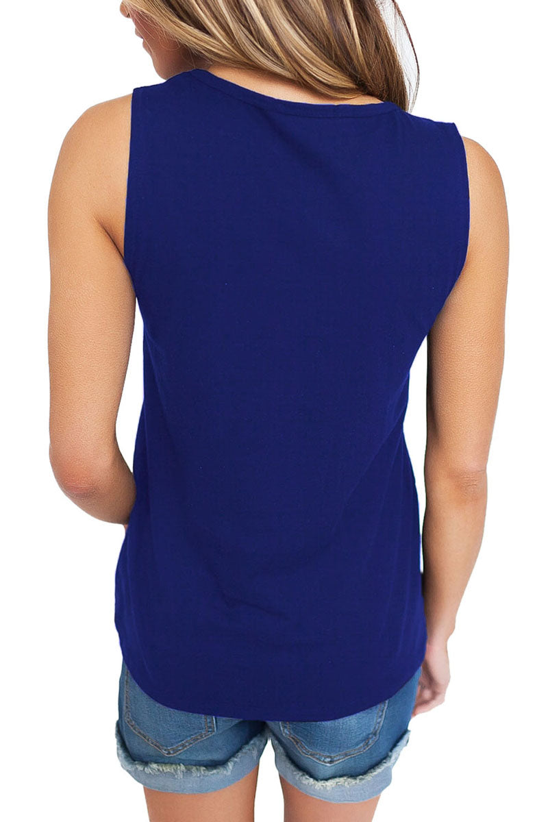 Blue T Front Strappy Neck Tank