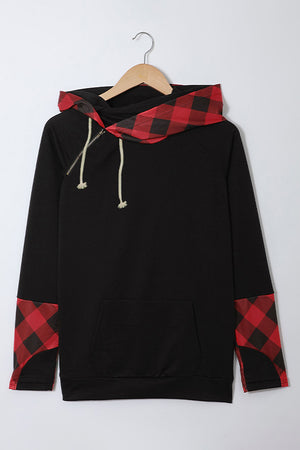 Red Plaid Double Hoods Thumb Hole Hoodie