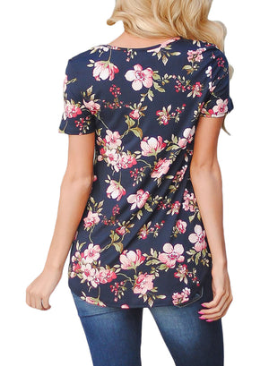 Navy Blue Super Soft Floral Tee Shirt with Crisscross Neck