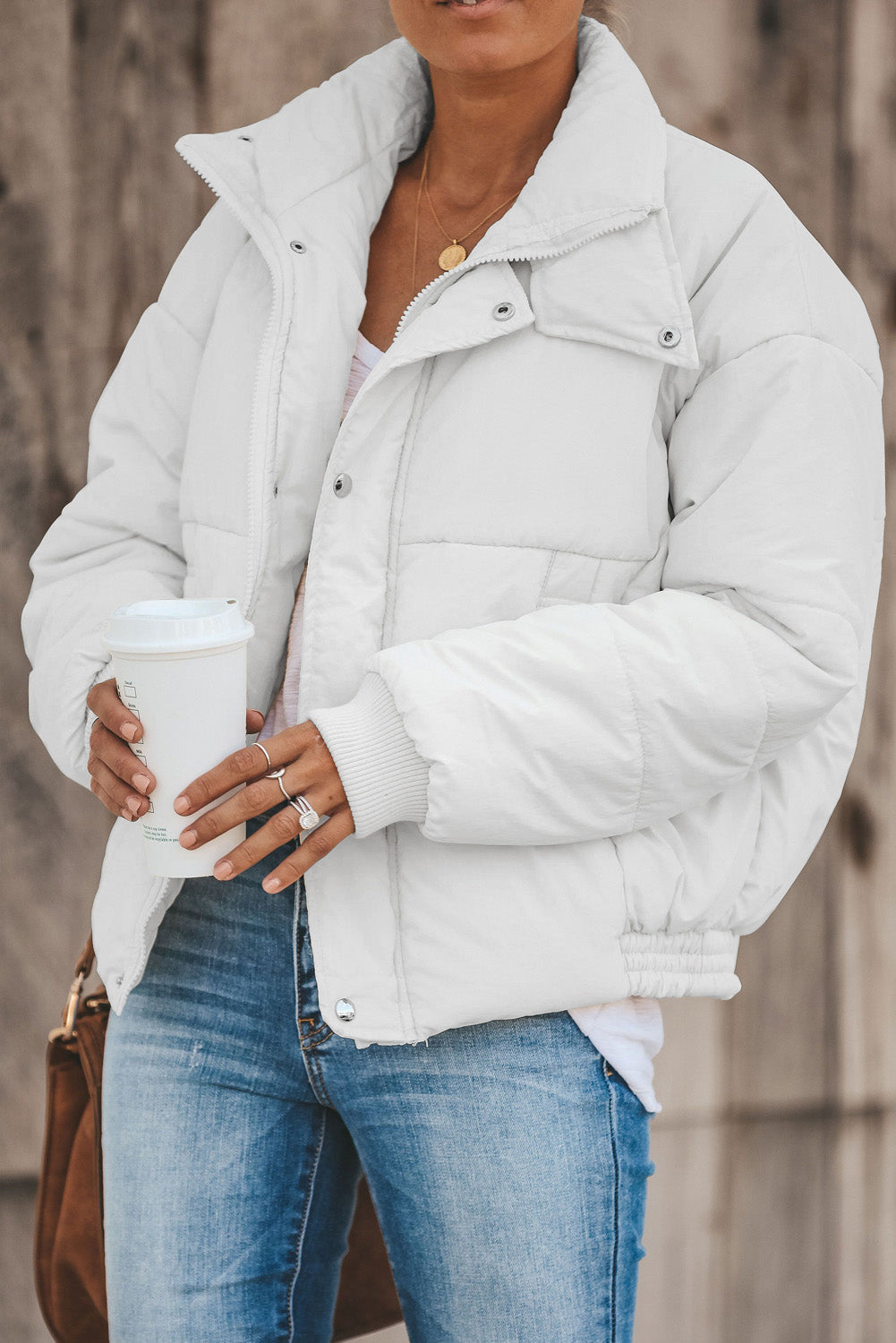 Beige Holly Pocketed Puffer Jacket